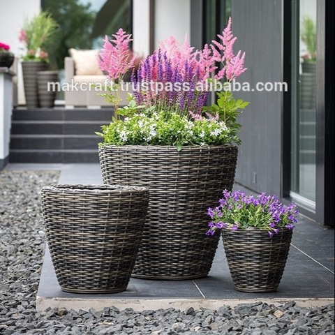 MRPL-0006 Patio Synthetic Rattan Outdoor Garden Furniture Accessories Round Plastic Planter And Tree Pots Vase pictures & photos