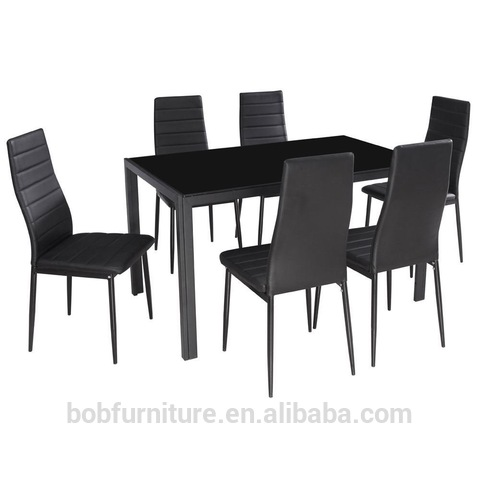 Home Dining Kitchen 6 Person Furniture Set with Glass Top Table Metal Leg Chairs pictures & photos