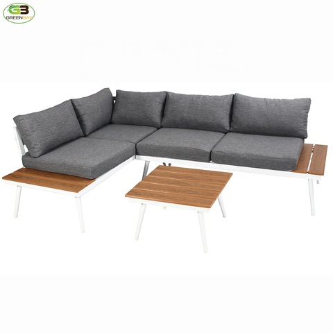 Aluminum garden furniture corner sofa plastic wood side table outdoor sofa pictures & photos