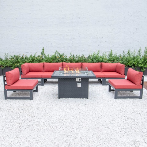 Patio outdoor wicker rattan garden sofa set outdoor aluminum sofa with firepit table