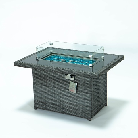 Garden wicker fire pit table with glass fence wind guard outdoor gas fire pit table pictures & photos