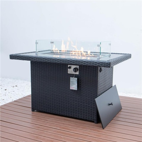 Patio Garden Outdoor Aluminum Rattan Fireplace Furniture Gas Fire Pit Table