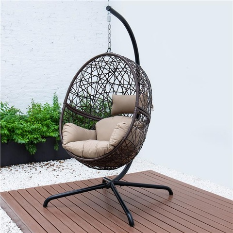 Patio Outdoor Swing egg Wicker Hanging Chair with Stand pictures & photos