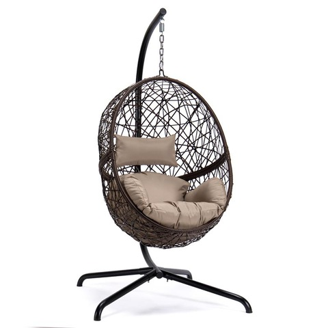 Patio Outdoor Swing egg Wicker Hanging Chair with Stand