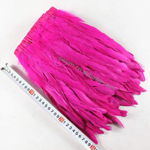 10-12in 25-30cm Dyed Rooster Feather Trim Fuchsia Cock Tail Feather Fringe pictures & photos