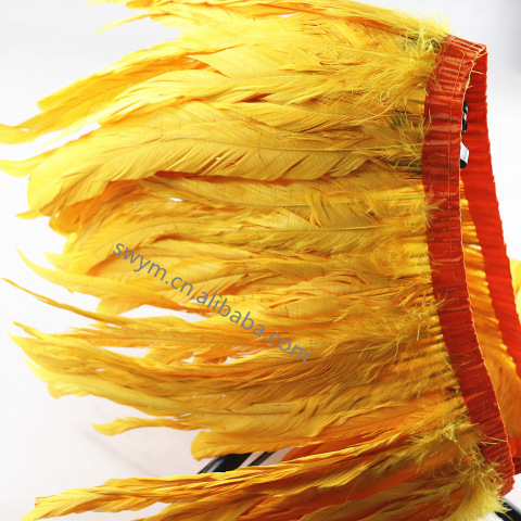 12-14in 30-35cm Dyed Rooster Feather Trim Trimming Saffron Yellow Cock Tail Feather Fringe pictures & photos
