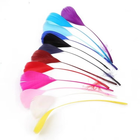 Cheap Wholesale Price Multi-color Stripped Goose Nagoire Feathers Dyed Boits Plumes for Fashion Decorations pictures & photos