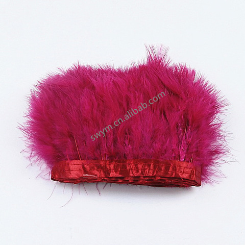 Factory Wholesale Dyed Marabou Feather Trim Trimming Turkey Feather Fringe Lace for Decor