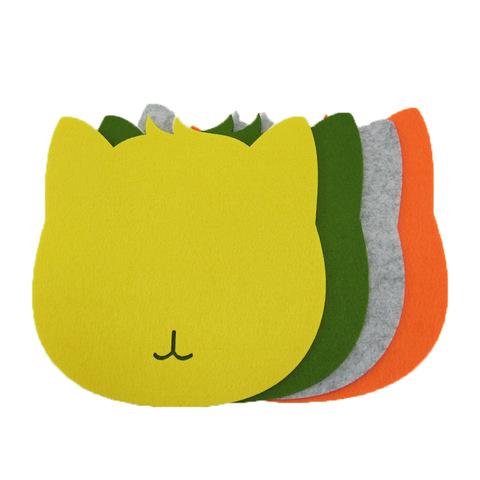 Multi-Functions Cat Cup Pad Custom Cartoon Shaped Felt Mouse Pad