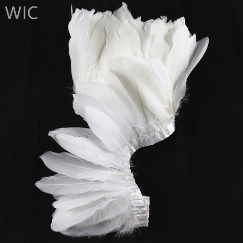 Top Quality 15-20cm Cheap White Goose Nagoire Feather Fringe Trim pictures & photos