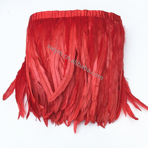 Wholesale Price Dyed Rooster Feather Trimming Cock Coque Tail Feather Fringe pictures & photos