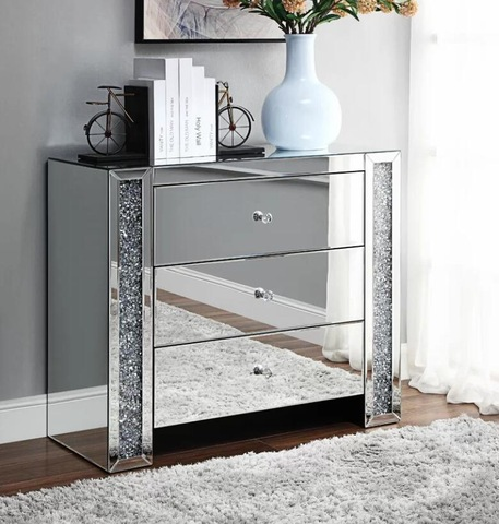 Bedroom Crystal Mirrored Crushed Diamond 3 Drawer Chest of Drawers Sideboard