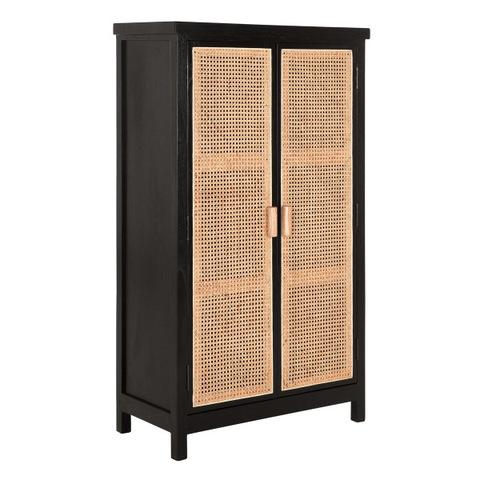 Black Wood Furniture 2 Rattan Door Wardrobe