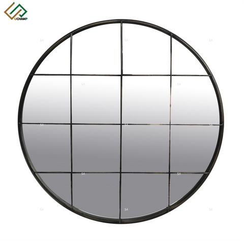 Industrial Wood and Metal Round Wall Mirror pictures & photos