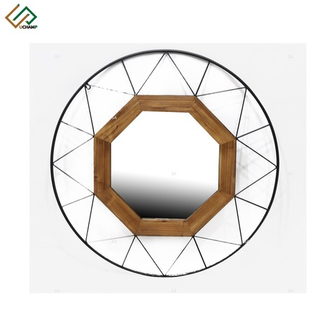 Industrial Wood and Metal Round Wall Mirror