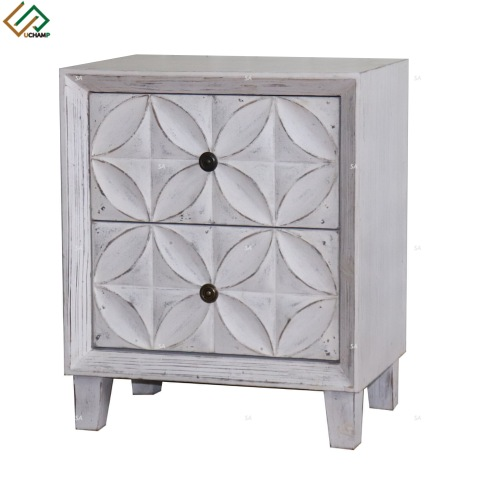 Living Room Storage Drawer Unit Vintage White Wooden Bedside Table Cabinet Nightstand pictures & photos