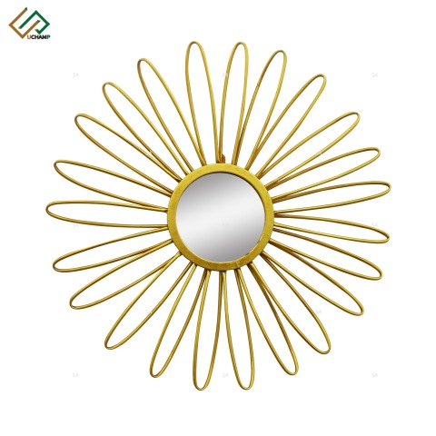 Metal Sunburst Wall Mirror Gold Round Glass Sun Wall Mirror pictures & photos