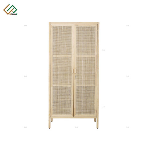 Nordic Style Wooden Storage Cabinet Rattan Wardrobe pictures & photos