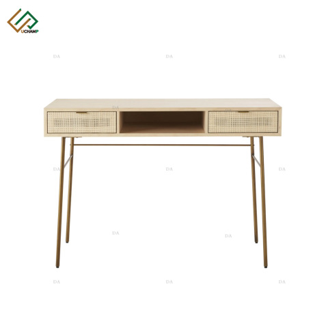 Panel Furniture Metal Leg Two Drawer Rattan Console Table pictures & photos