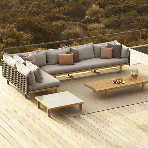 Modern Rattan Ash Wood Shaped Grey Couch Living Room Swimming Pool Garden Set Furniture Sofa Bed Outdoor Sofa pictures & photos