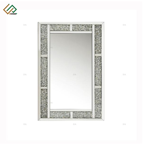 Modern Furniture Rectangle Mirror Crystal Crushed Diamond Mirrored