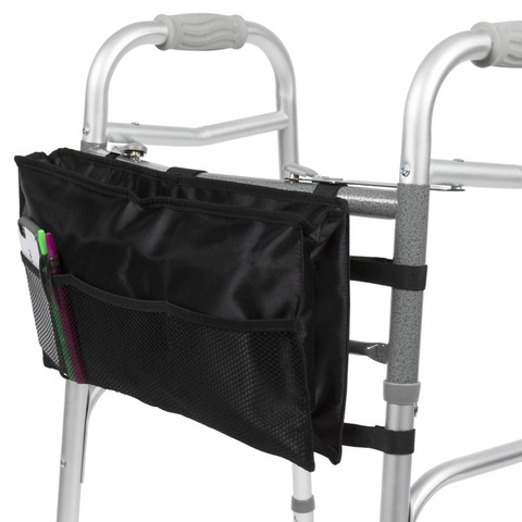 Water Resistant Walker Bag Basket with Hands Free Storage for Folding Walkers