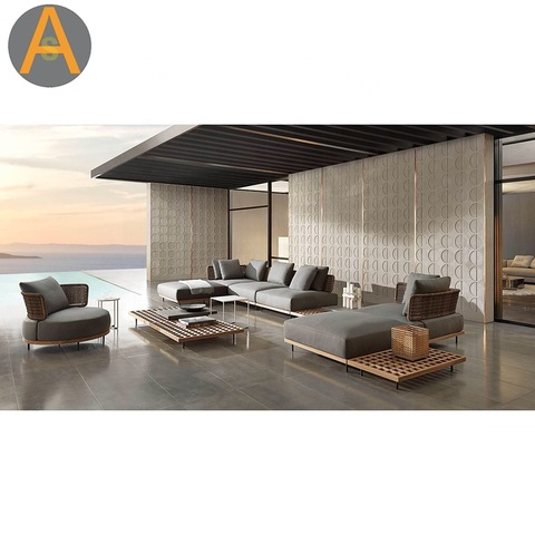 Luxury outdoor furniture teak lounge set sofa patio Aluminum garden sofa set outdoor sofa pictures & photos