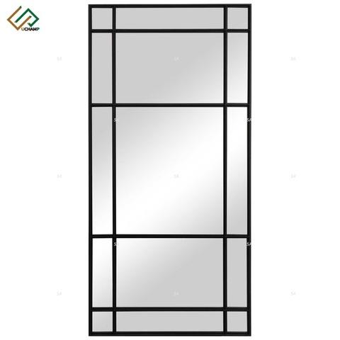 Large Iron Black Frame Wall Mirror