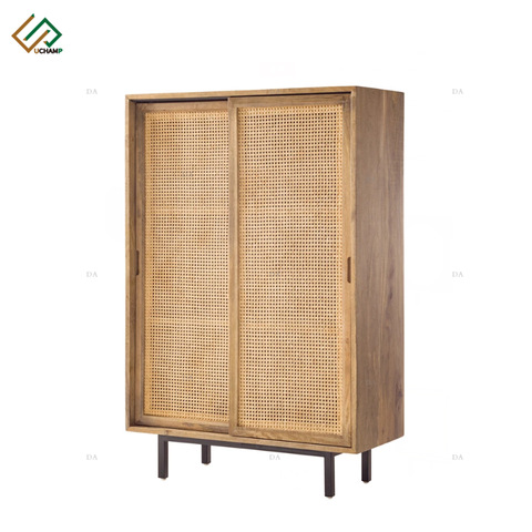 Wooden Indoor Furniture Rattan Storage Modern Living Room Cabinet