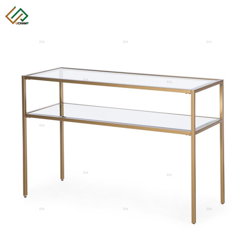Modern Furniture Glass Top Metal Table Two Tier Hallway Corner Console Table