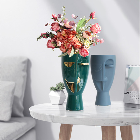 Half Face ceramic vase Nordic modern minimalist home living room model room hotel flower decoration ornaments pictures & photos