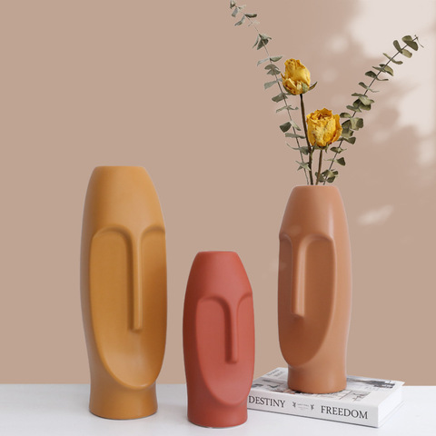 Nordic Morandi light luxury creative face ceramic vase flower arrangement living room flower arrangement ornaments pictures & photos