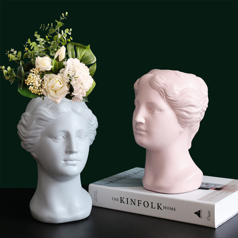 Nordic art flower device Venus head portrait statue decoration living room home decoration vase creative crafts pictures & photos