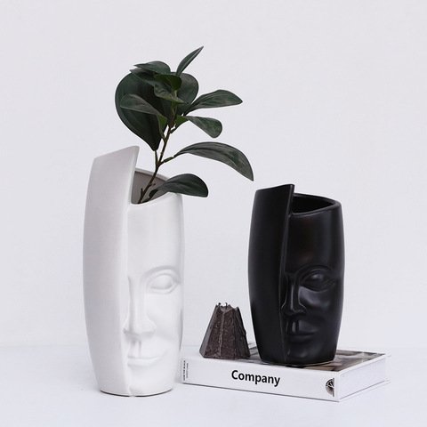Nordic creative personalized ceramic face art Vase decoration home abstract decoration floral living room flower arrangement pictures & photos